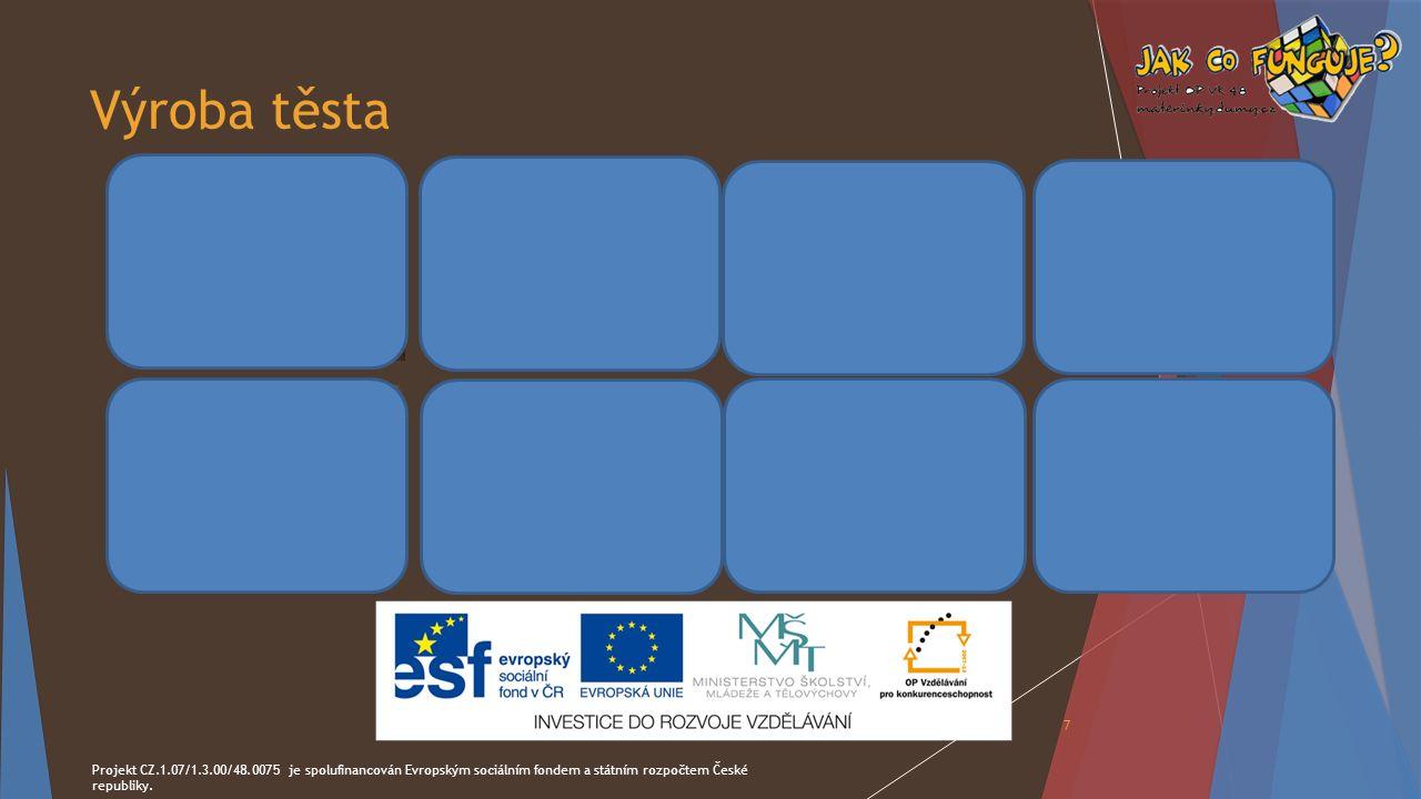 Výroba těsta Projekt CZ.1.07/1.3.00/48.0075 je spolufinancován Evropským sociálním fondem a státním rozpočtem České republiky. 7