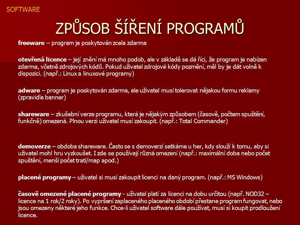 ZPŮSOB ŠÍŘENÍ PROGRAMŮ freeware – program je poskytován zcela zdarma otevřená licence – její znění má mnoho podob, ale v základě se dá říci, že program je nabízen zdarma, včetně zdrojových kódů.