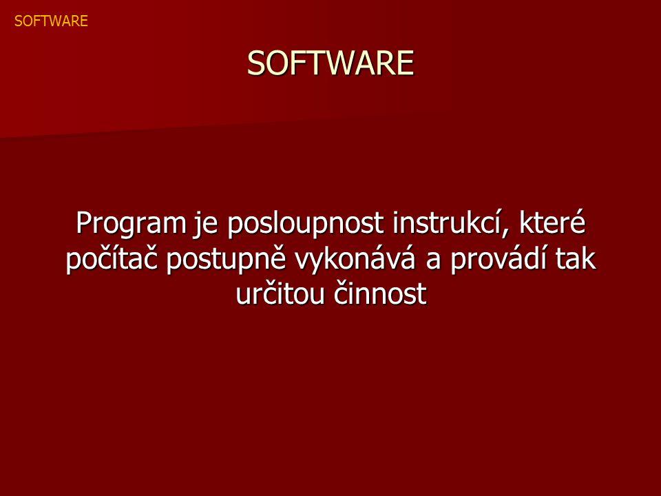 SOFTWARE Program je posloupnost instrukcí, které počítač postupně vykonává a provádí tak určitou činnost SOFTWARE