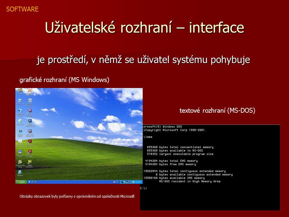 UŽIVATELSKÉ PROGRAMY - PŘEHLED 1 - Textové editory psaní textových dokumentů MS NotePad, MS WORD 2 - Tabulkové kalkulátory slouží ke zpracování dat MS EXCEL 3 - Databázové systémy umožňují zpracovat (třídit) různé typy dat MS ACCESS 4 - Grafické editory tvorba a úprava obrázků, fotografií Adobe Photoshop, Corel Draw 5 - Multimediální aplikace zpracování zvuku WinAmp zpracování videa Pinacle Studio 6 - Informační a komunikační aplikace prohlížení WWW MSIE, Mozilla Firefox IRC komunikace Miranda, ICQ 7 - Nástroje pro tvorbu WWW stránek editory HTML kódu HTML Editor vizuální editory - MS FrontPage Programy, které umožňují uživateli efektivně zpracovávat určitý druh dat SOFTWARE