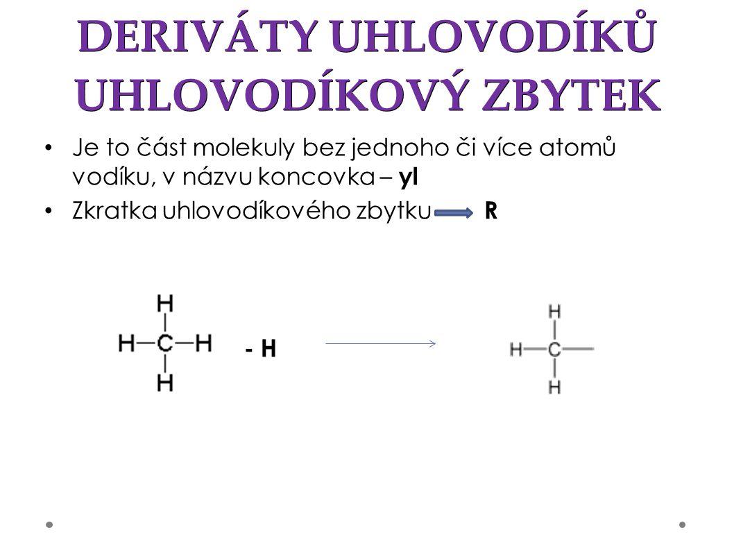 DERIVÁTY UHLOVODÍKŮ UHLOVODÍKOVÝ ZBYTEK Je to část molekuly bez jednoho či více atomů vodíku, v názvu koncovka – yl Zkratka uhlovodíkového zbytku R - H
