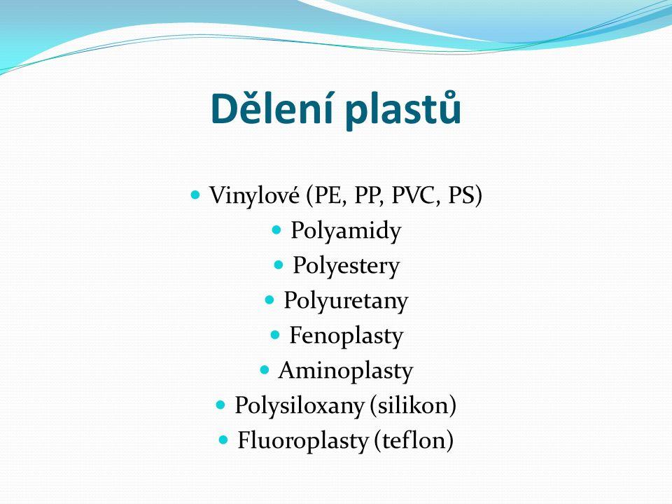 Dělení plastů Vinylové (PE, PP, PVC, PS) Polyamidy Polyestery Polyuretany Fenoplasty Aminoplasty Polysiloxany (silikon) Fluoroplasty (teflon)