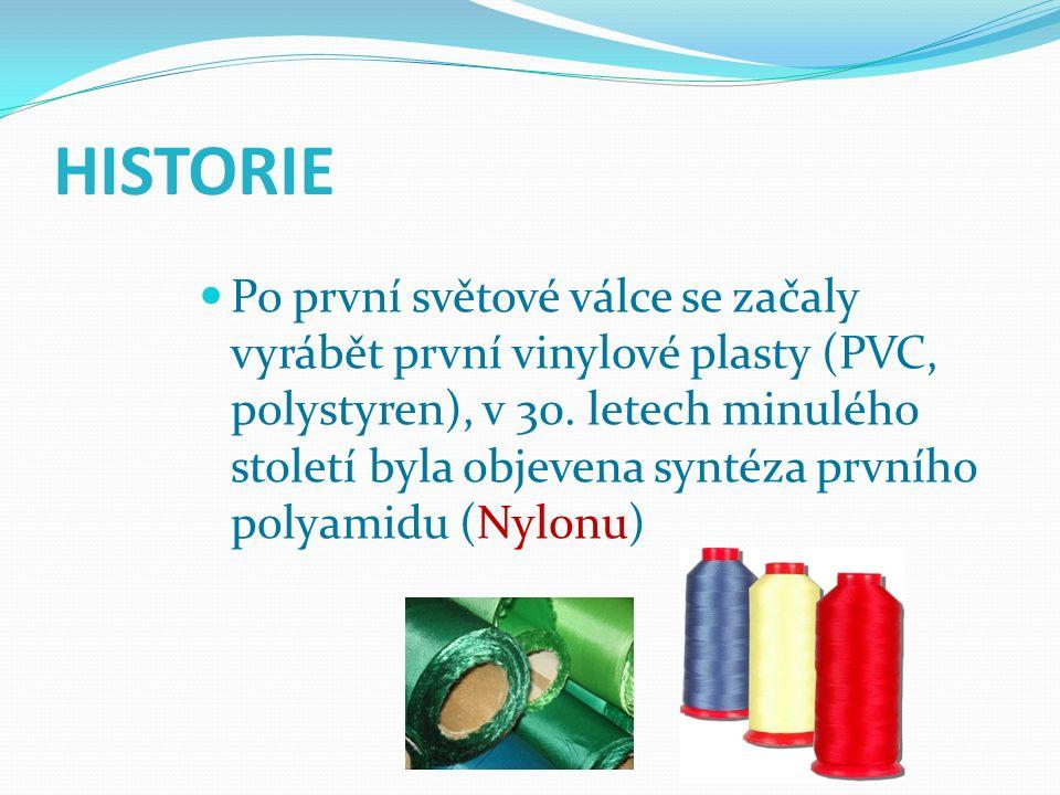 HISTORIE Po první světové válce se začaly vyrábět první vinylové plasty (PVC, polystyren), v 30. letech minulého století byla objevena syntéza prvního