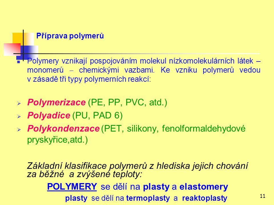 11 Příprava polymerů Polymery vznikají pospojováním molekul nízkomolekulárních látek – monomerů  chemickými vazbami.
