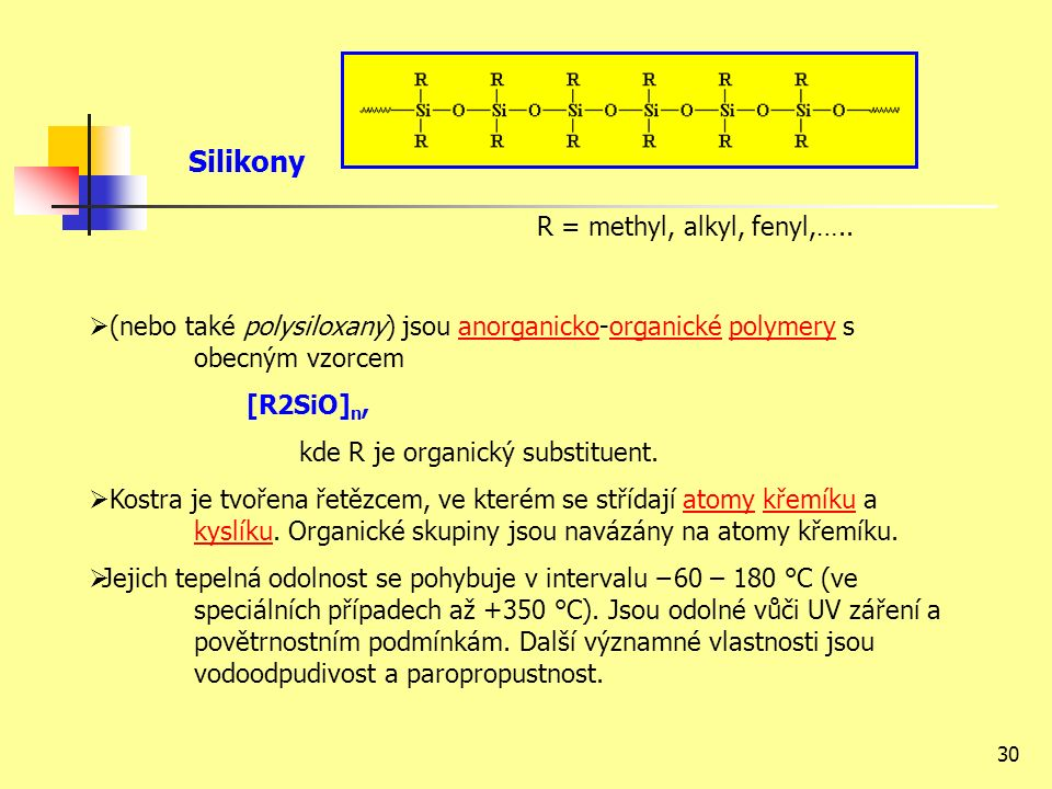 30 Silikony R = methyl, alkyl, fenyl,…..