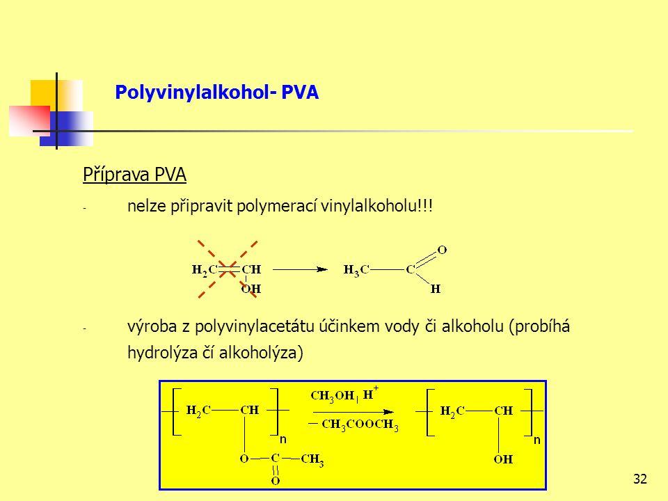 32 Příprava PVA - nelze připravit polymerací vinylalkoholu!!.
