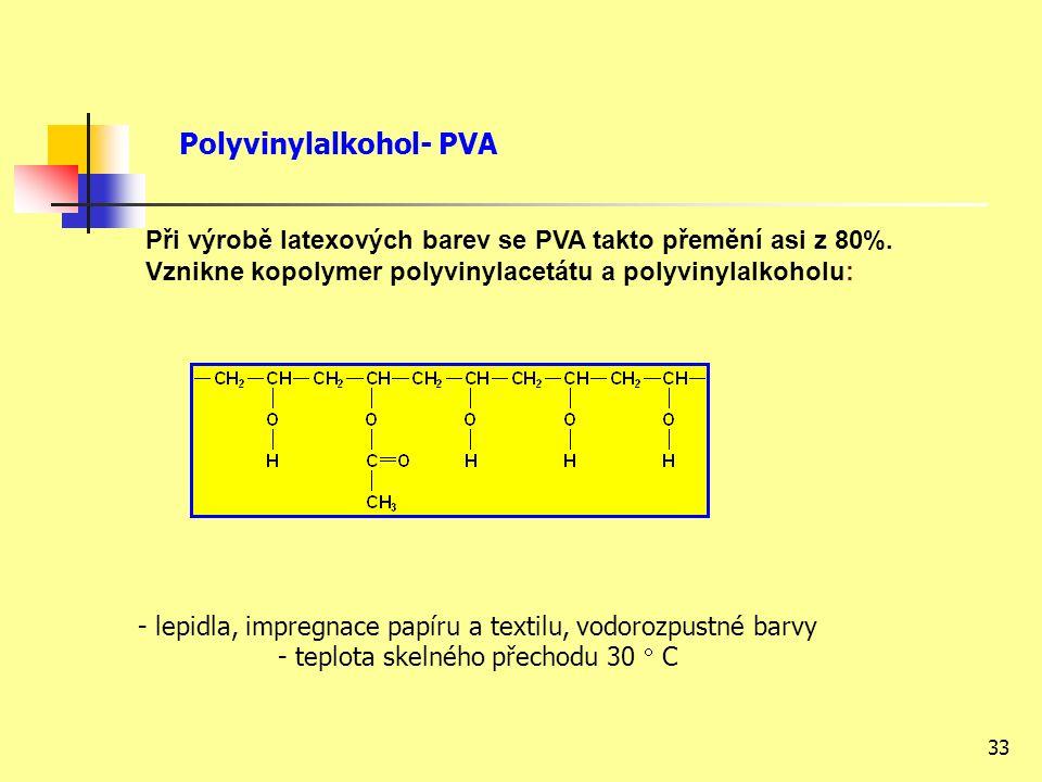 33 - lepidla, impregnace papíru a textilu, vodorozpustné barvy - teplota skelného přechodu 30  C Při výrobě latexových barev se PVA takto přemění asi z 80%.