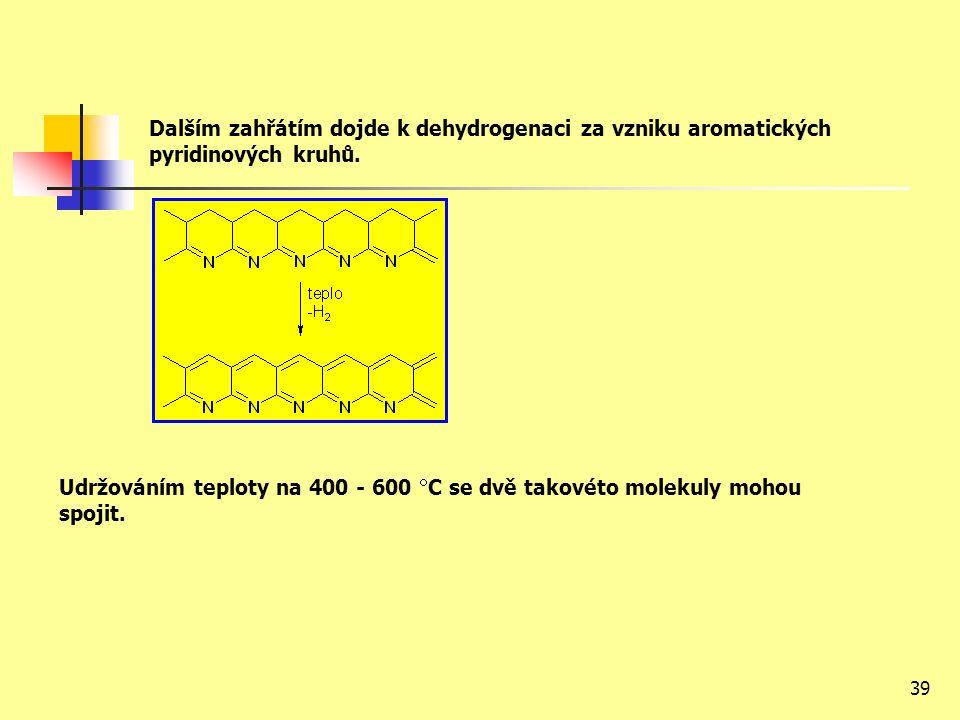 39 Dalším zahřátím dojde k dehydrogenaci za vzniku aromatických pyridinových kruhů.