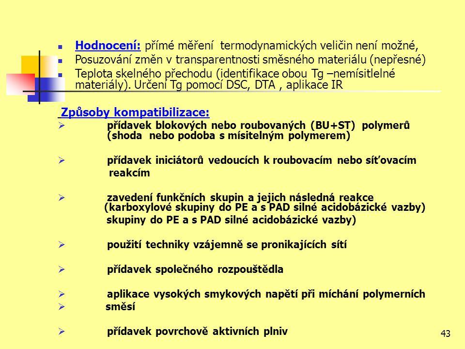 43 Hodnocení: přímé měření termodynamických veličin není možné, Posuzování změn v transparentnosti směsného materiálu (nepřesné) Teplota skelného přechodu (identifikace obou Tg –nemísitlelné materiály).