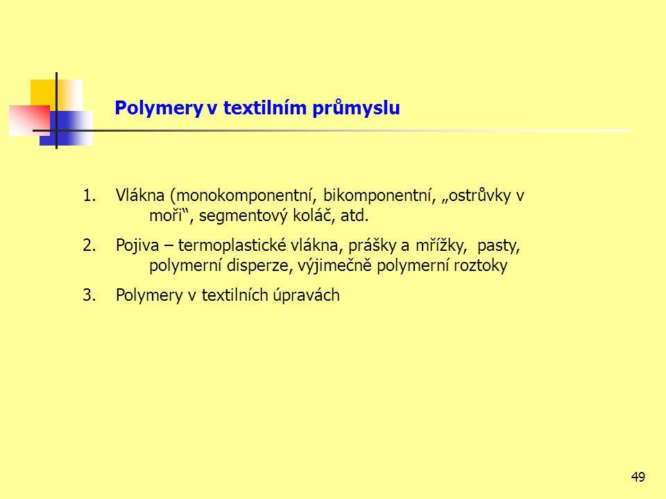 """49 Polymery v textilním průmyslu 1.Vlákna (monokomponentní, bikomponentní, """"ostrůvky v moři , segmentový koláč, atd."""