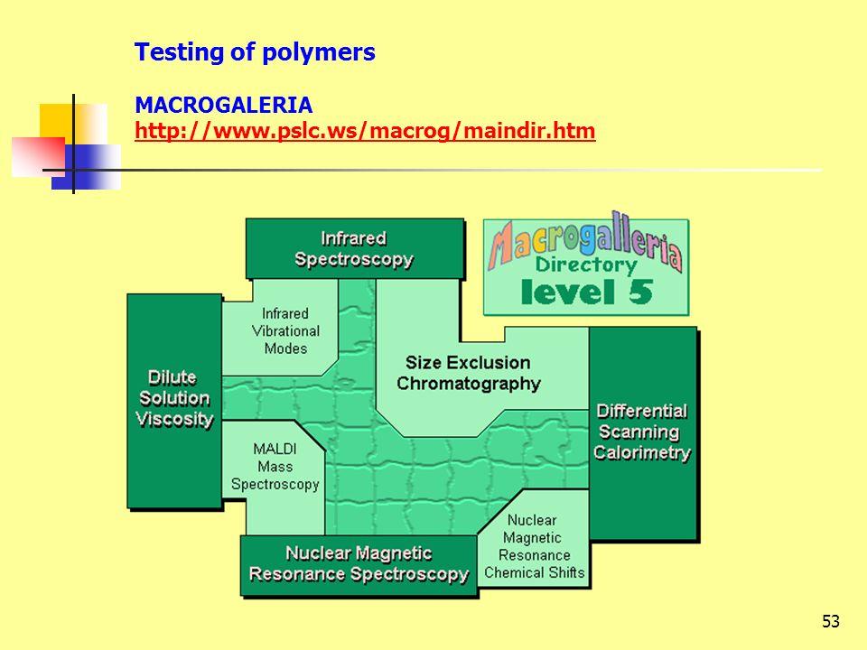 53 Testing of polymers MACROGALERIA http://www.pslc.ws/macrog/maindir.htm