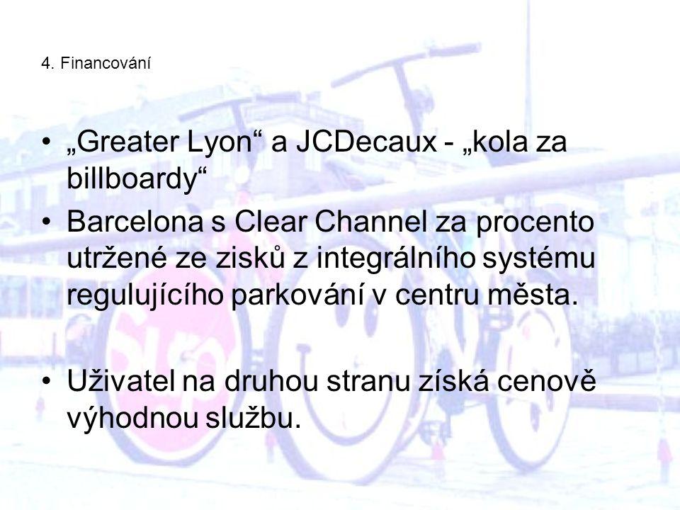 """4. Financování """"Greater Lyon"""" a JCDecaux - """"kola za billboardy"""" Barcelona s Clear Channel za procento utržené ze zisků z integrálního systému regulují"""