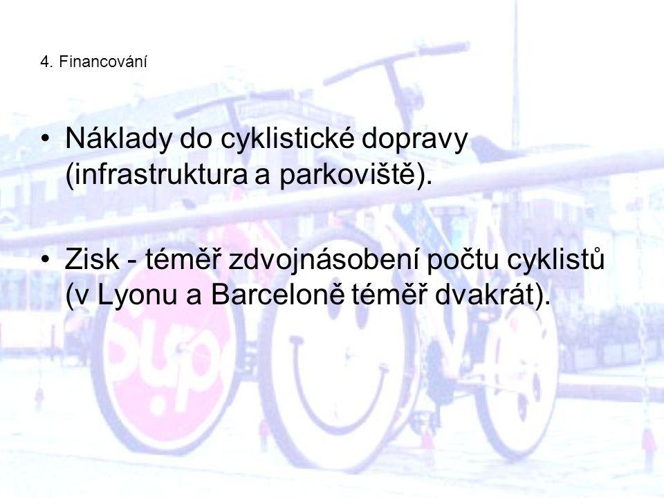4. Financování Náklady do cyklistické dopravy (infrastruktura a parkoviště).
