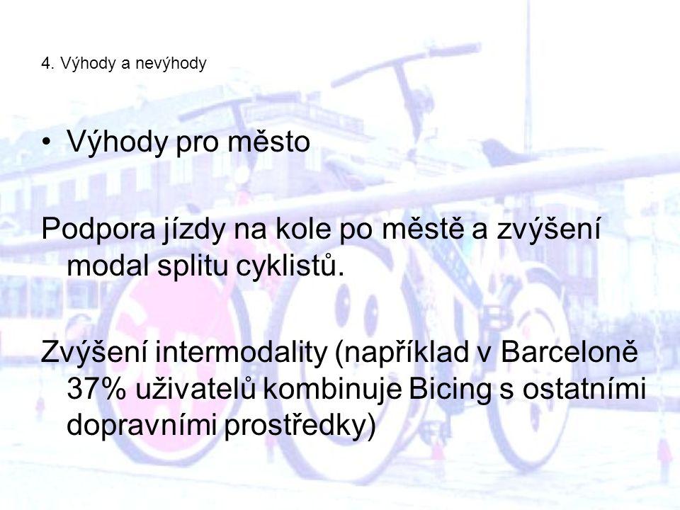 4. Výhody a nevýhody Výhody pro město Podpora jízdy na kole po městě a zvýšení modal splitu cyklistů. Zvýšení intermodality (například v Barceloně 37%