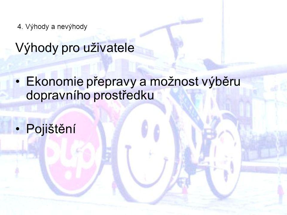 4. Výhody a nevýhody Výhody pro uživatele Ekonomie přepravy a možnost výběru dopravního prostředku Pojištění