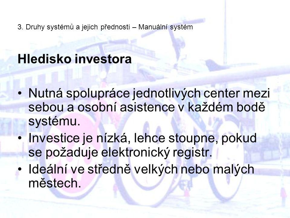 3. Druhy systémů a jejich přednosti – Manuální systém Hledisko investora Nutná spolupráce jednotlivých center mezi sebou a osobní asistence v každém b