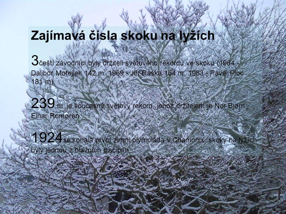 Zajímavá čísla skoku na lyžích 3 čeští závodníci byly držiteli světového rekordu ve skoku (1964 - Dalibor Motejlek 142 m, 1969 - Jiří Raška 164 m, 1983 - Pavel Ploc 181 m).