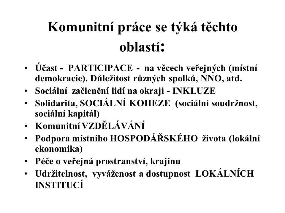 Komunitní práce se týká těchto oblastí : Účast - PARTICIPACE - na věcech veřejných (místní demokracie).