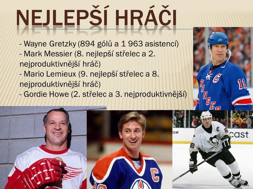 - Wayne Gretzky (894 gólů a 1 963 asistencí) - Mark Messier (8.