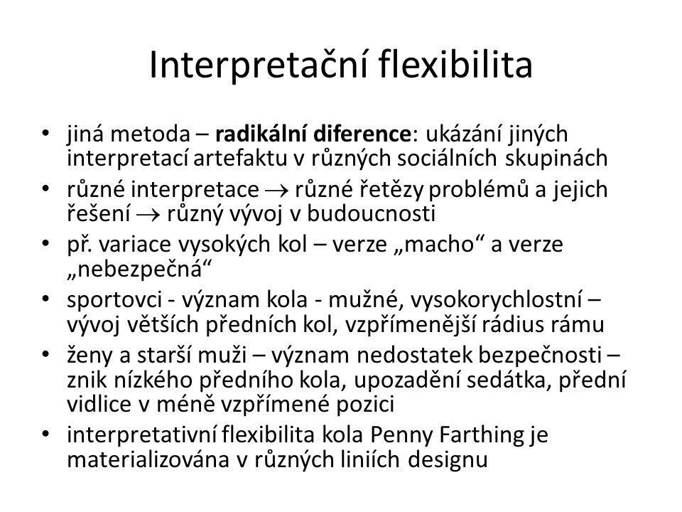 Interpretační flexibilita jiná metoda – radikální diference: ukázání jiných interpretací artefaktu v různých sociálních skupinách různé interpretace  různé řetězy problémů a jejich řešení  různý vývoj v budoucnosti př.