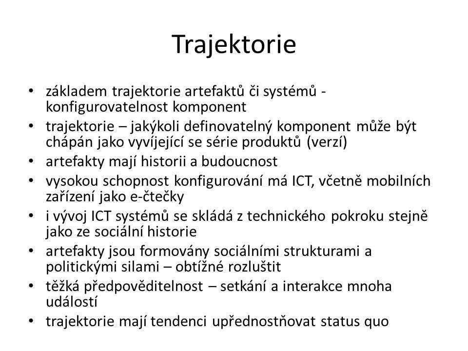 Trajektorie základem trajektorie artefaktů či systémů - konfigurovatelnost komponent trajektorie – jakýkoli definovatelný komponent může být chápán jako vyvíjející se série produktů (verzí) artefakty mají historii a budoucnost vysokou schopnost konfigurování má ICT, včetně mobilních zařízení jako e-čtečky i vývoj ICT systémů se skládá z technického pokroku stejně jako ze sociální historie artefakty jsou formovány sociálními strukturami a politickými silami – obtížné rozluštit těžká předpověditelnost – setkání a interakce mnoha událostí trajektorie mají tendenci upřednostňovat status quo