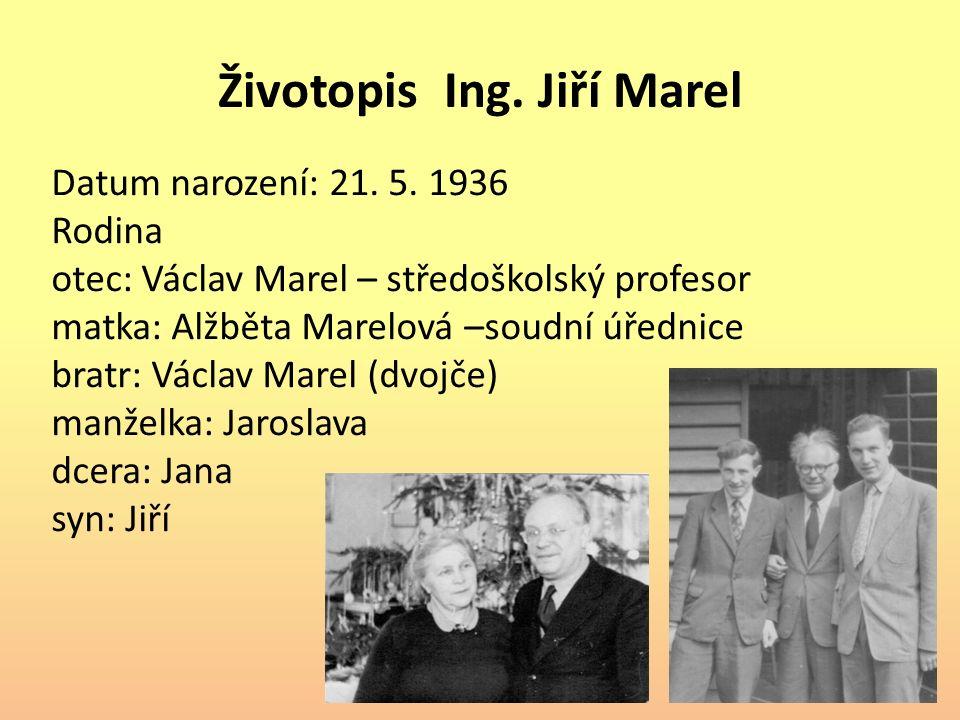 Životopis Ing. Jiří Marel Datum narození: 21. 5.