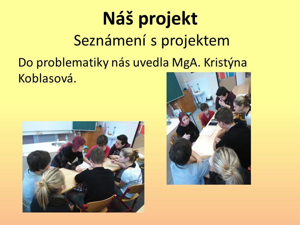 Náš projekt Seznámení s projektem Do problematiky nás uvedla MgA. Kristýna Koblasová.
