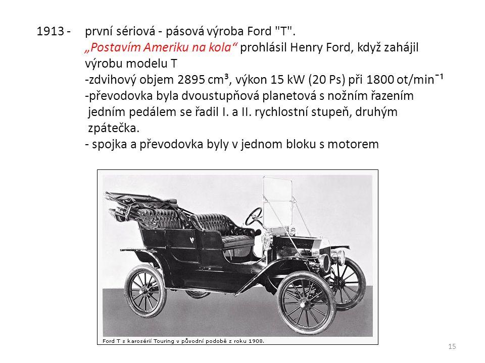 15 1913 - první sériová - pásová výroba Ford T .