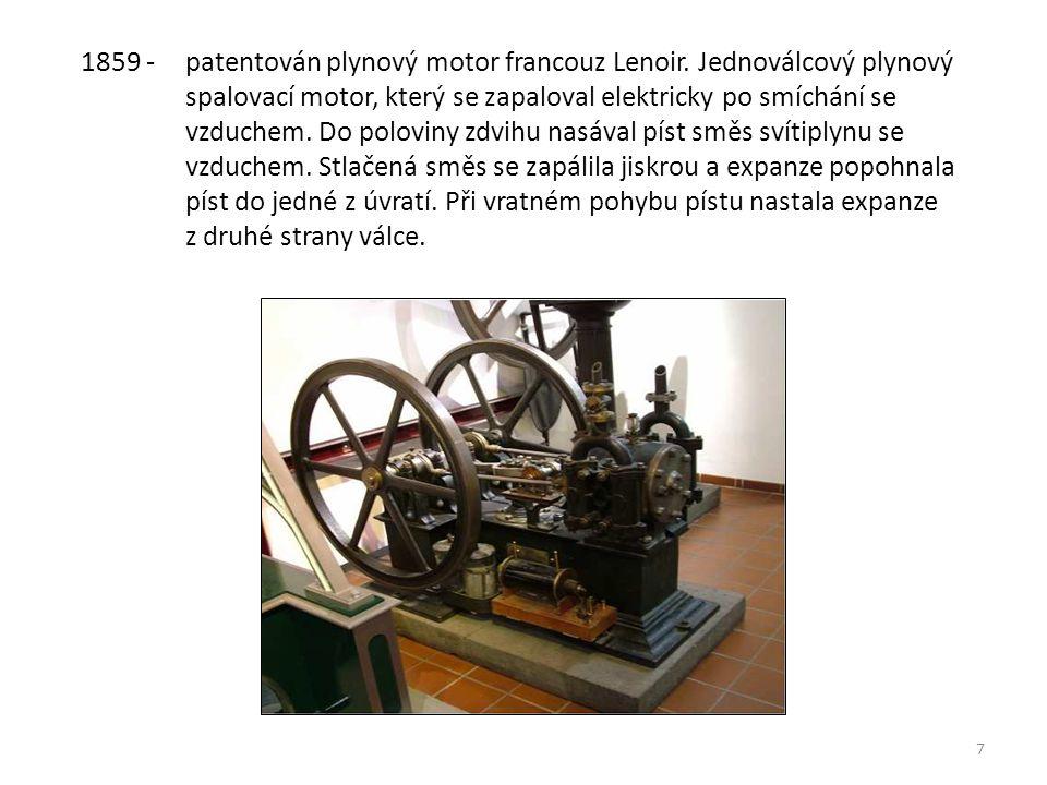 8 1863 - vozidlo s plynovým motorem Francouz Lenoir.