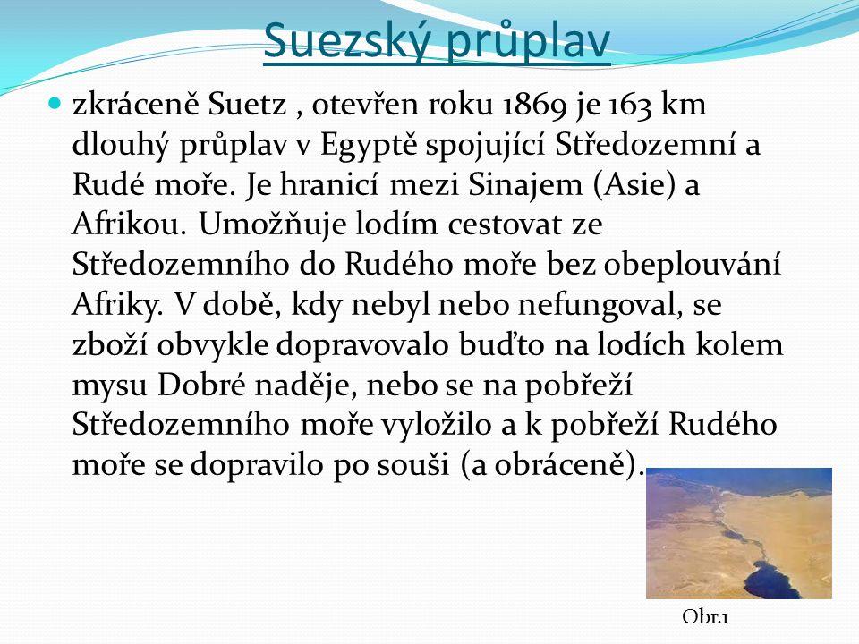 Suezský průplav zkráceně Suetz, otevřen roku 1869 je 163 km dlouhý průplav v Egyptě spojující Středozemní a Rudé moře. Je hranicí mezi Sinajem (Asie)