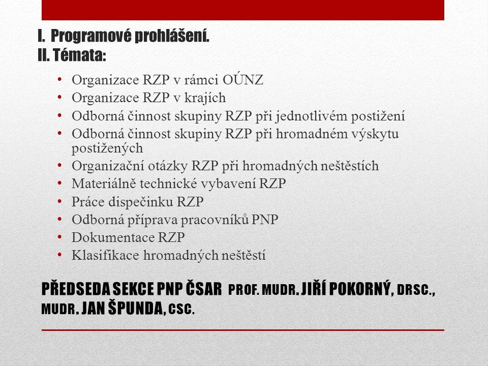 I. Programové prohlášení. II.