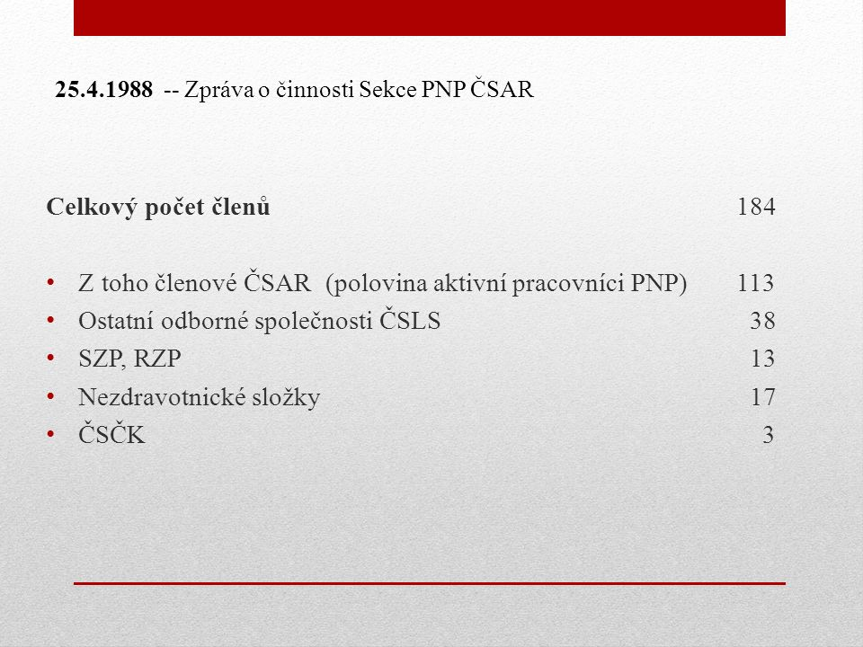 Celkový počet členů 184 Z toho členové ČSAR (polovina aktivní pracovníci PNP) 113 Ostatní odborné společnosti ČSLS 38 SZP, RZP 13 Nezdravotnické složky 17 ČSČK 3 25.4.1988 -- Zpráva o činnosti Sekce PNP ČSAR