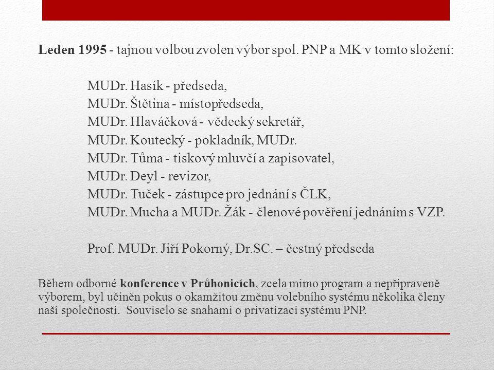 Leden 1995 - tajnou volbou zvolen výbor spol. PNP a MK v tomto složení: MUDr. Hasík - předseda, MUDr. Štětina - místopředseda, MUDr. Hlaváčková - věde
