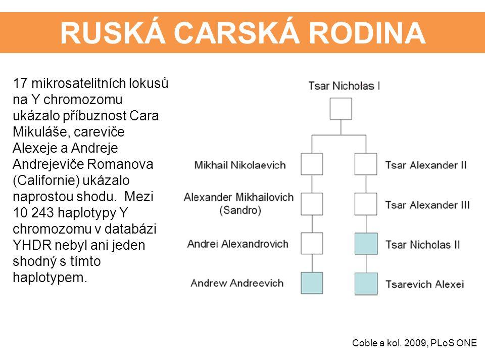 RUSKÁ CARSKÁ RODINA 17 mikrosatelitních lokusů na Y chromozomu ukázalo příbuznost Cara Mikuláše, careviče Alexeje a Andreje Andrejeviče Romanova (Californie) ukázalo naprostou shodu.