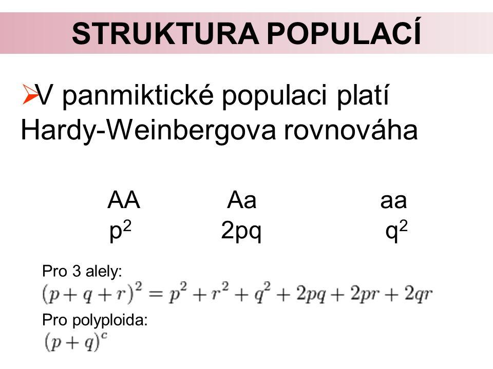  V panmiktické populaci platí Hardy-Weinbergova rovnováha AA Aa aa p 2 2pq q 2 STRUKTURA POPULACÍ Pro 3 alely: Pro polyploida: