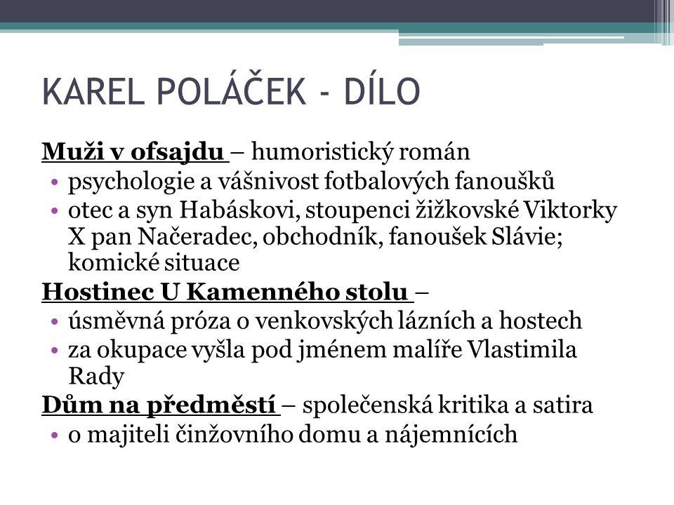 KAREL POLÁČEK - DÍLO Muži v ofsajdu – humoristický román psychologie a vášnivost fotbalových fanoušků otec a syn Habáskovi, stoupenci žižkovské Viktor