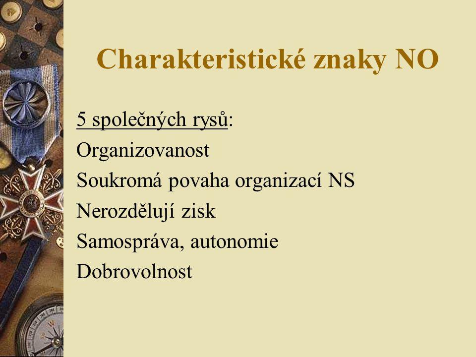Charakteristické znaky NO 5 společných rysů: Organizovanost Soukromá povaha organizací NS Nerozdělují zisk Samospráva, autonomie Dobrovolnost