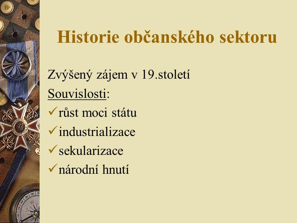 Historie občanského sektoru Zvýšený zájem v 19.století Souvislosti: růst moci státu industrializace sekularizace národní hnutí