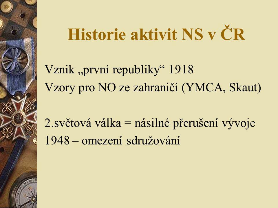 """Historie aktivit NS v ČR Vznik """"první republiky 1918 Vzory pro NO ze zahraničí (YMCA, Skaut) 2.světová válka = násilné přerušení vývoje 1948 – omezení sdružování"""