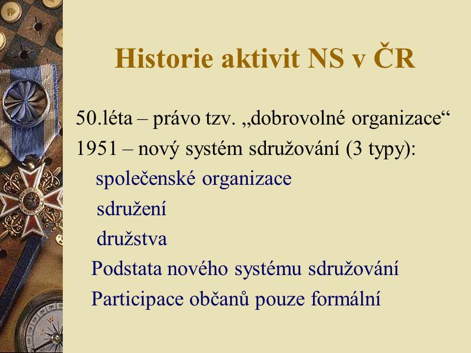 Historie aktivit NS v ČR 50.léta – právo tzv.