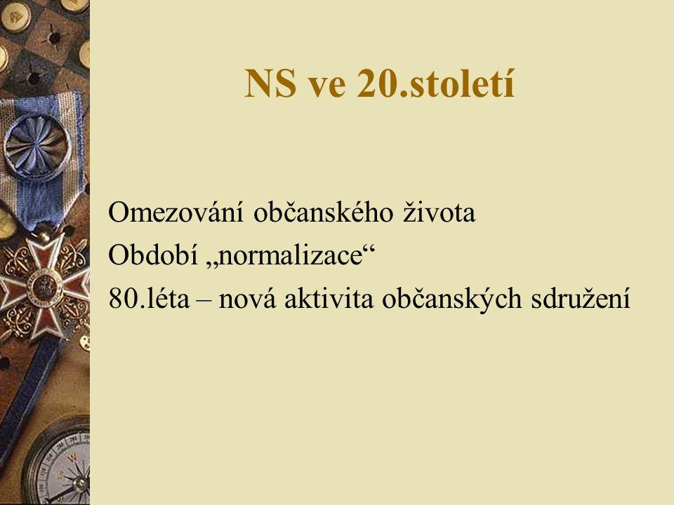 """NS ve 20.století Omezování občanského života Období """"normalizace 80.léta – nová aktivita občanských sdružení"""