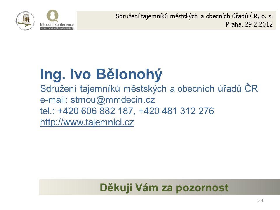 24 Ing. Ivo Bělonohý Sdružení tajemníků městských a obecních úřadů ČR e-mail: stmou@mmdecin.cz tel.: +420 606 882 187, +420 481 312 276 http://www.taj