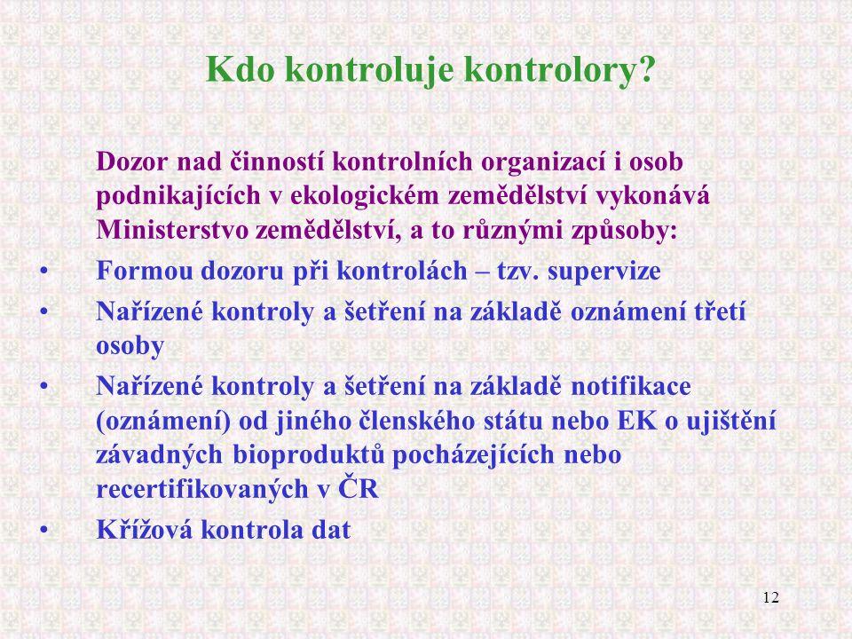 12 Kdo kontroluje kontrolory? Dozor nad činností kontrolních organizací i osob podnikajících v ekologickém zemědělství vykonává Ministerstvo zemědělst