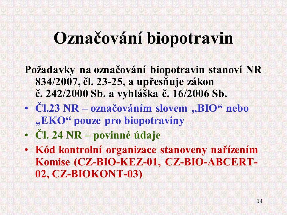 14 Označování biopotravin Požadavky na označování biopotravin stanoví NR 834/2007, čl. 23-25, a upřesňuje zákon č. 242/2000 Sb. a vyhláška č. 16/2006
