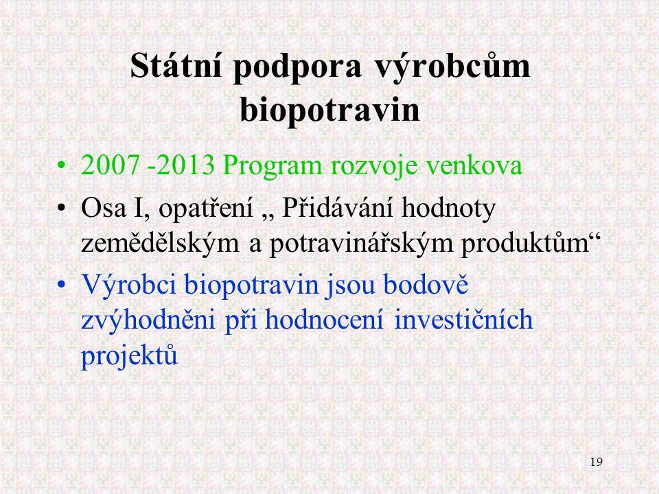 """19 Státní podpora výrobcům biopotravin 2007 -2013 Program rozvoje venkova Osa I, opatření """" Přidávání hodnoty zemědělským a potravinářským produktům"""""""