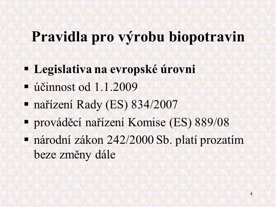4 Pravidla pro výrobu biopotravin  Legislativa na evropské úrovni  účinnost od 1.1.2009  nařízení Rady (ES) 834/2007  prováděcí nařízení Komise (E