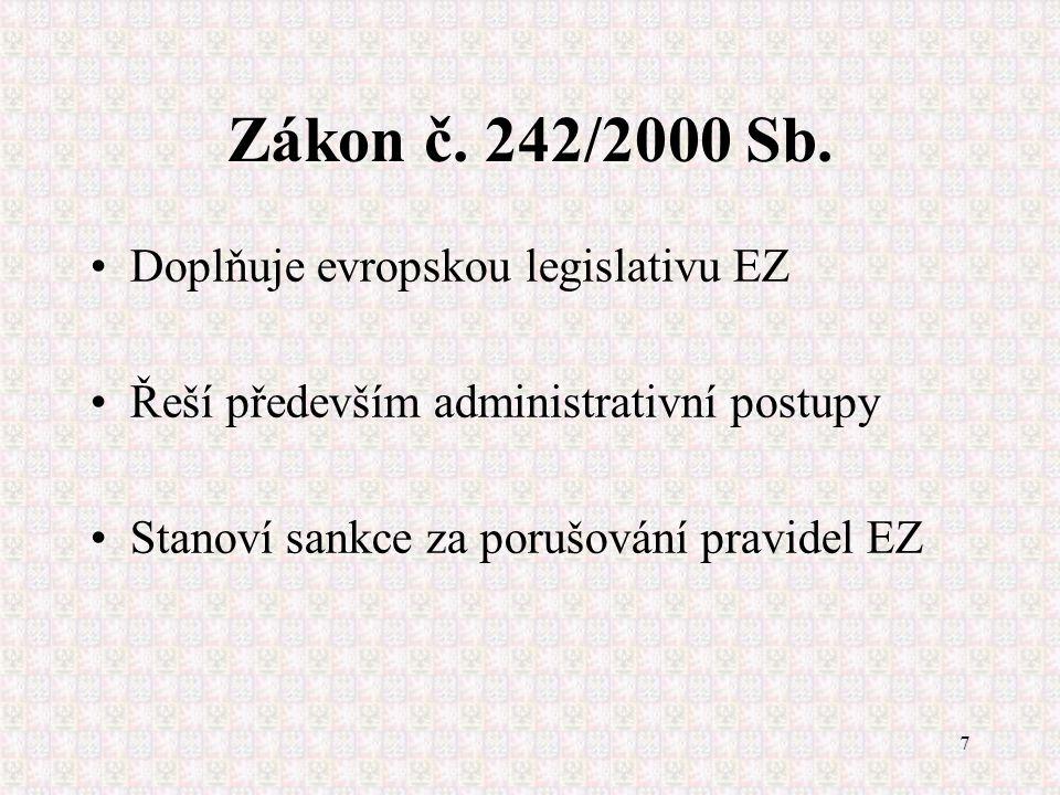 7 Zákon č. 242/2000 Sb. Doplňuje evropskou legislativu EZ Řeší především administrativní postupy Stanoví sankce za porušování pravidel EZ