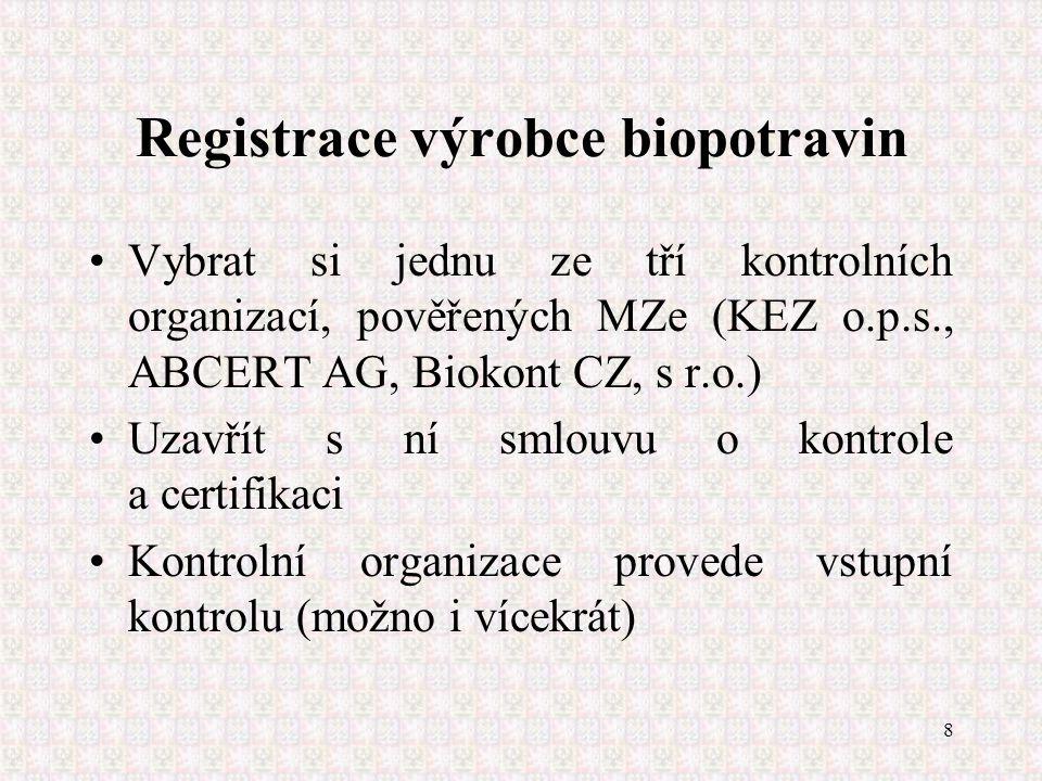 8 Registrace výrobce biopotravin Vybrat si jednu ze tří kontrolních organizací, pověřených MZe (KEZ o.p.s., ABCERT AG, Biokont CZ, s r.o.) Uzavřít s n