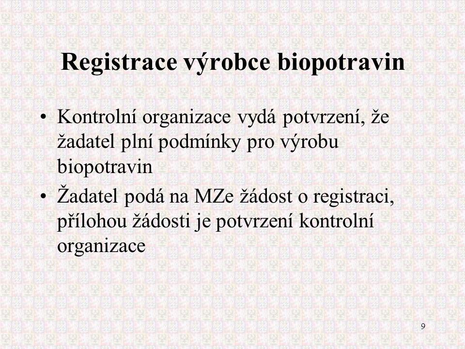 9 Registrace výrobce biopotravin Kontrolní organizace vydá potvrzení, že žadatel plní podmínky pro výrobu biopotravin Žadatel podá na MZe žádost o reg