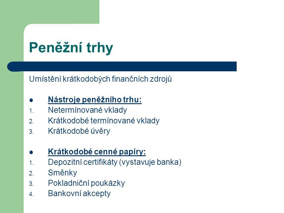 Peněžní trhy Umístění krátkodobých finančních zdrojů Nástroje peněžního trhu: 1. Netermínované vklady 2. Krátkodobé termínované vklady 3. Krátkodobé ú